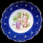 SALE LA BELLE's FLOW BLUE Portrait Display Plate Classical Ladies Garden Scene circa 1900