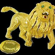 SALE HATTIE CARNEGIE's Roaring Lion Brooch w/ Rhinestones 'n Enamel Accenting