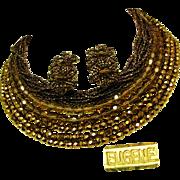 SALE Vintage EUGENE Mid-Century Bib Necklace 'n Earrings, 13-Strands of All Glass