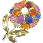 SALE Mid - Century Tiered Jelly Belly Flower Brooch of Lucite Gumdrops c.1940's
