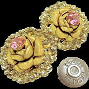 SALE Vintage MIRIAM HASKELL ROSE Blossom Earrings w/ Pink Rhinestones Haloed by Rose Montee