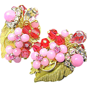 SALE EUGENE'S Exotic Floral Earrings-Layers of Shades Pink Rhinestones 'n Art Glass c.1950's