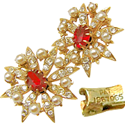SALE Realistic Victorian Revival Earrings w/ Paste Stones 'n Faux Seed Pearls Pat.1967965 c ..