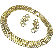 SALE Classic REINAD Curb Chain Necklace 'n Baguette Rhinestone Climber Earrings c.1950's
