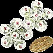 SALE Gorgeous Vintage MIRIAM HASKELL Clear 'n White Glass Flower Earrings w/ Pink Rhinestones