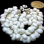 SALE Striking HASKELL Massive Shell BIB Necklace 'n Earrings
