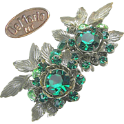 SALE Green Rhinestone Large DeMARIO 'n Silver Gilt EARRINGS c.1950's
