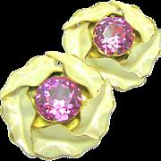 SALE Classic SANDOR Enamel 'n Rose Pink Headlight Rhinestone CALLA LILY Earrings c.1940's