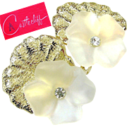 SALE Exotic CASTLECLIFF Frosted Crystal 'n Clear White Rhinestone PANSY Earrings