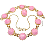 SALE Cotton Candy Pink REJA Marbled Glass Cab Necklace, Bracelet 'n Earrings c.1940
