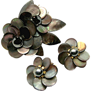 SALE Exquisite French Abalone Floral Pin Clip Set c.1940's Signed Depose