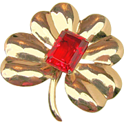 SALE '40's Large CORO MEXICO SILVER Flower Brooch Stepped Red Glass Stone by HECTOR ...