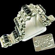 SALE TAXCO Mexico's 980/1000 Hand Wrought SILVER Bracelet w/ Black Stones c.1940's