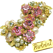 SALE ROBERT's Awesome Pink Rhinestone, Glass 'n Rose Montee Earrings c.1950's