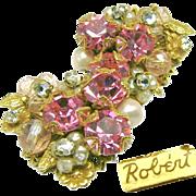 SALE ROBERT's Awesome Pink Rhinestone, Glass 'n Rose Montee Earrings c.1950's