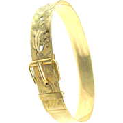 SALE Ornately Etched Cigar Band BUCKLE BANGLE Bracelet c.1872