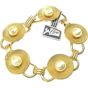SALE CORO STERLING's Gold Washed Bracelet w/ Baroque Glass Pearls c.1940's Orig.Tag