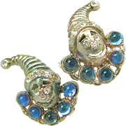 SALE Rare JACK in the BOX Figural Earrings w/ Blue Glass Moonstones c.1930's