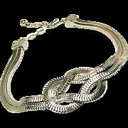 SALE Striking CastleCliff Love Knot Serpentine Chain Necklace circa 1960