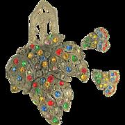 SALE Rare Little Nemo's LN / 25 Jewel-tone Rhinestone Pin Clip Set - Art Deco