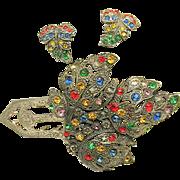 SALE Rare Art Deco Little Nemo LN / 25 Pin Clip Set of Jewel-tone Rhinestones