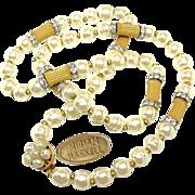 SALE Opulent MIRIAM HASKELL BAROQUE Glass Pearl Necklace w/ Sparkling Rhinestone Rhondels