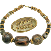 SALE CHUNKY 'n Vintage MIRIAM HASKELL Silver Gilt w/ Warm Tone Wood Cork Necklace