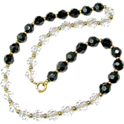 SALE SIMMONS' Crystal Day-Night Necklace Original Chain Strung circa late 1930's