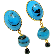 SALE CASTLECLIFF's Art Glass Dangle Swirling Blue Earrings w/ Black Drops
