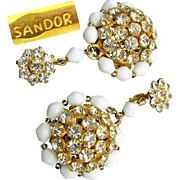 SALE SANDOR's Clear White Rhinestone w/ White Glass PENDANT Earrings c.1950's