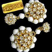 SALE Beautiful Gilded Brass Pendant SANDOR Earrings w/ Clear White Rhinestones 'n White Glass
