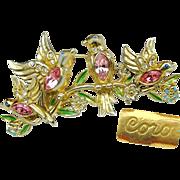 SALE CORO's Bill & Coo Brooch & Earrings Pink Rhinestone Bellied Patented circa 1948