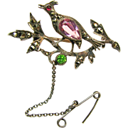 Outstanding Continental Silver 'n Paste Partridge in the Pear Tree Brooch c.1900