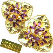 SALE Stunning MOSELL Rare Dimensional LILY PAD Earrings w/ Amethyst Rhinestones c.1950's