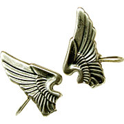 SALE WWII SWEETHEART US Army Air Corp's Sterling Pilot Wing Earrings c.1940's