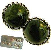 SALE Exquisite Victorian Earrings of Irish Sterling 'n Green Connemara Marble c.1885