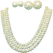 SALE CASTLECLIFF's Awesome Iridescent 3 Strand Necklace w/ 2 Pair of Earrings - Pat.Pend.