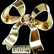 SALE Dimensional Jolle Sterling Bow Brooch by Hess - Appel w/ Glass Amethyst Stone