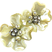 SALE Jonne's Pearlized Glass Flower Earrings w/ Rhinestone Stamen c.1940's
