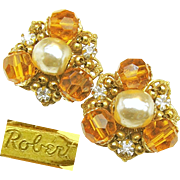SALE Flashy Baroque Glass Pearl ROBERT EARRINGS w/ Golden Faceted Glass 'n Rhinestones c.1950'