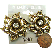 SALE Awesome Jollé Earrings Gold Over Sterling by Hess-Appel Rhinestone Accented ROSE Blossom