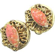 SALE Stellar REINAD Glass Coral Matrix 'n Filigree Earrings
