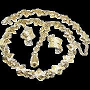 SALE Elegant Rhinestone Necklace, Bracelet 'n Earrings Parure by Jomaz c.1950's
