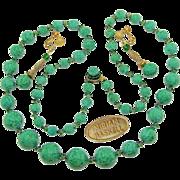 Stellar HASKELL Speckled Green ART GLASS Long Necklace 'n Pendant Earrings