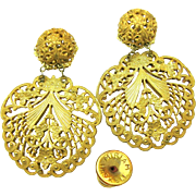 SALE Rare Vintage Ornate MIRIAM HASKELL PIERCED Earrings  of 'Lacey' Filigree Pendants