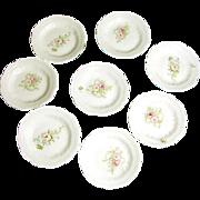 SALE Set of 6 Ornate Art Nouveau Pink ROSES BUTTER PATS of Austrian Porcelain c ...