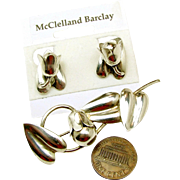 SALE Exquisite McCLELLAND BARCLAY's Sterling Floral Bells Brooch 'n Earrings c.1930's