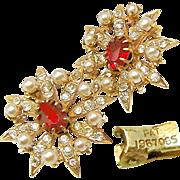 SALE Vintage Victorian Revival Earrings w/ Paste Stones 'n Faux Seed Pearls Pat.1967965 c ...