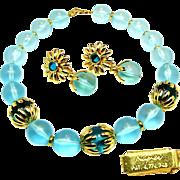 SALE Vintage NAPIER's Chunky Necklace w/ Flower Pendant Earrings of Translucent Aqua Orbs