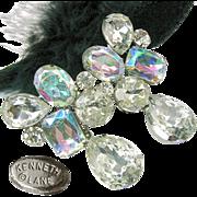 SALE Vintage Drippy Kenneth J Lane Earrings of Brilliant Clear White 'n Rainbow Rhinestones